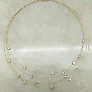Bezel rhinestone and gold cord magnetic clasp